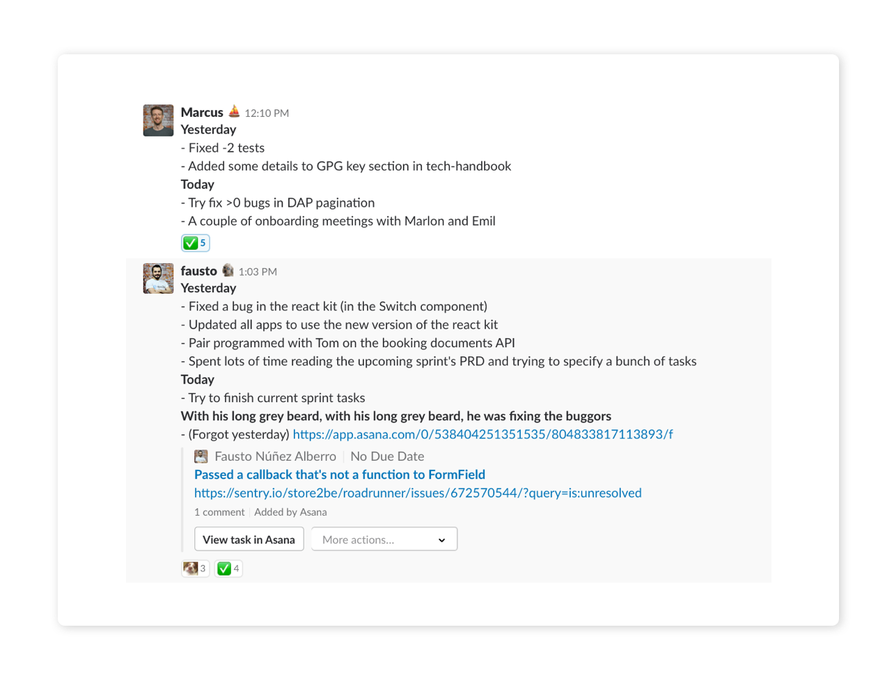 store2be standups in Slack.